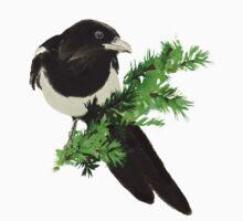Watercolor Magpie Bird Nature Art Kids Tee