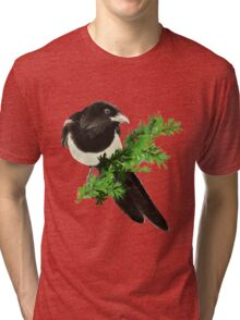 Watercolor Magpie Bird Nature Art Tri-blend T-Shirt