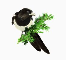 Watercolor Magpie Bird Nature Art Unisex T-Shirt