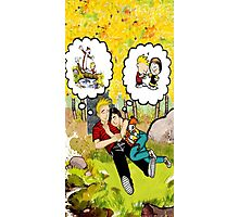 calvin dreaming with girl friends Photographic Print