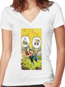 calvin dreaming with girl friends Women's Fitted V-Neck T-Shirt