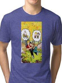 calvin dreaming with girl friends Tri-blend T-Shirt
