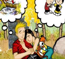 calvin dreaming with girl friends Sticker