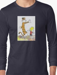 calvin hobbes back forest Long Sleeve T-Shirt