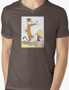calvin hobbes back forest Mens V-Neck T-Shirt