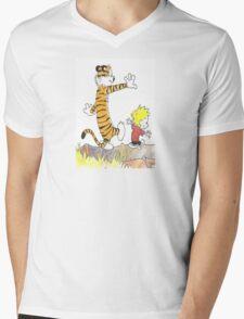 calvin hobbes back forest Mens V-Neck T-Shirt