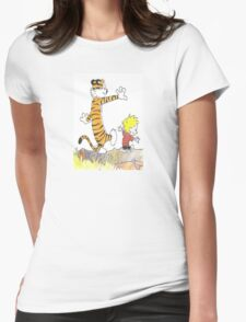 calvin hobbes back forest Womens Fitted T-Shirt