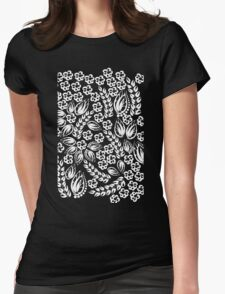 White flowers Womens Fitted T-Shirt