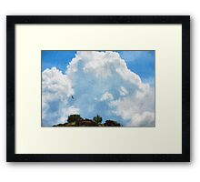 Soaring Hawk in Thunder Heads Framed Print