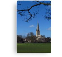 Across the Sports Field; Norwich Cathedral Canvas Print