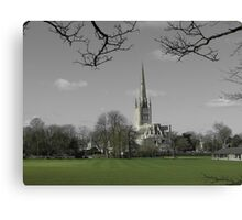 Norwich Cathedral; Green Grass Canvas Print