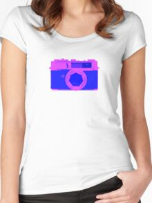 YASHICA Illustration Pink & Blue Women's Fitted Scoop T-Shirt