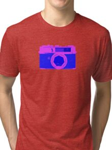 YASHICA Illustration Pink & Blue Tri-blend T-Shirt