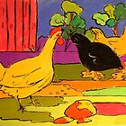 Barbara's Chooks Pastel on Paper  by Virginia McGowan
