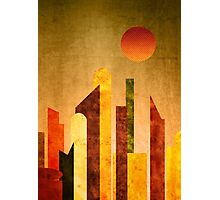 Autumn City Sunset Geometric Flat Urban Landscape Photographic Print