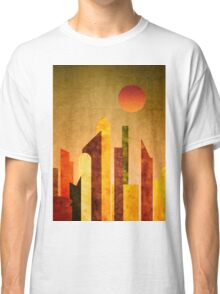 Autumn City Sunset Geometric Flat Urban Landscape Classic T-Shirt
