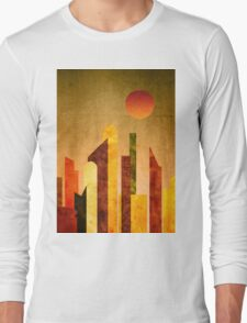 Autumn City Sunset Geometric Flat Urban Landscape Long Sleeve T-Shirt