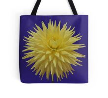 Dahlia yellow on dark blue  Tote Bag
