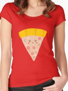 Cute funny smiling pizza slice Women's Fitted Scoop T-Shirt