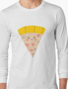 Cute funny smiling pizza slice Long Sleeve T-Shirt