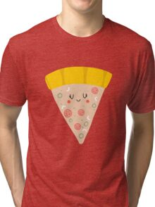 Cute funny smiling pizza slice Tri-blend T-Shirt