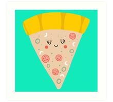 Cute funny smiling pizza slice Art Print