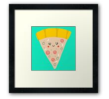 Cute funny smiling PIZZA slice Framed Print