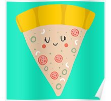 Cute funny smiling pizza slice Poster