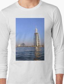 Photography of Burj al Arab hotel from Dubai seen from the sea, United Arab Emirates. Long Sleeve T-Shirt