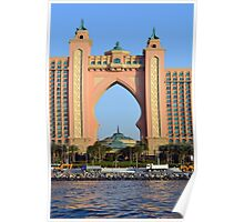 Photography of arched pink hotel from Dubai, United Arab Emirates. Poster