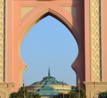 Photography of arched pink hotel from Dubai, United Arab Emirates. Sticker