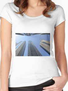 Photography of modern tall buildings from Dubai, United Arab Emirates. Women's Fitted Scoop T-Shirt