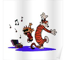 Calvin and Hobbes Dancing in the Floor Poster