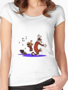 Calvin and Hobbes Dancing in the Floor Women's Fitted Scoop T-Shirt