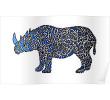 Abstract Rhino Coloured Poster