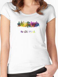Ho Chi Minh skyline in watercolor Women's Fitted Scoop T-Shirt