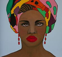 African woman in colorful headdress by kreativekate