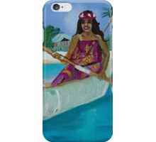 Island Life Woman in a canoe iPhone Case/Skin