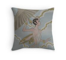 ANGEL WITH UMBRELLA Throw Pillow