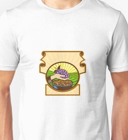 Hand Holding Grapes Raisins Crest Woodcut Unisex T-Shirt