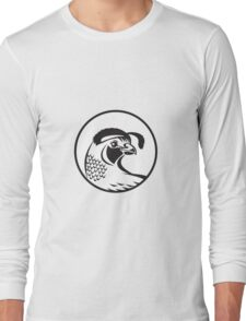 California Valley Quail Circle Black and White Long Sleeve T-Shirt
