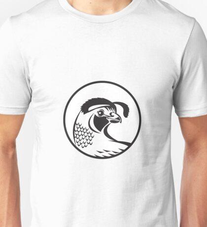 California Valley Quail Circle Black and White Unisex T-Shirt