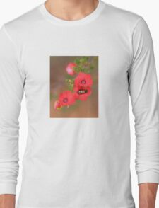 Red Wildflower with Beetle Long Sleeve T-Shirt