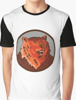 Russian Bear Head Growling Circle Retro Graphic T-Shirt