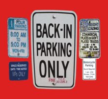BACK IN PARKING ONLY ~ Road Signs One Piece - Short Sleeve