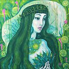 The Mermaid, acrylic painting, fantasy art, green shades, underwater by clipsocallipso