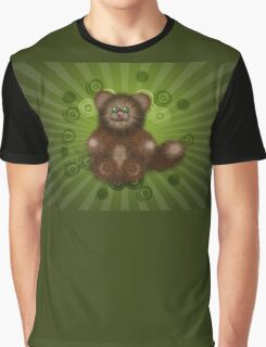 Brown Furry Cat Graphic T-Shirt