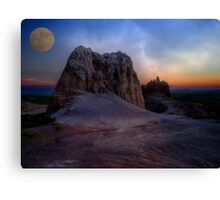 Moon Over the Badlands Canvas Print