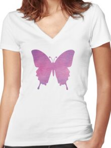 butterfly (watercolour) Women's Fitted V-Neck T-Shirt
