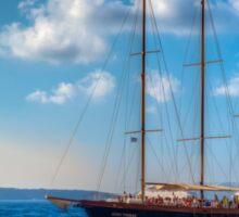 Sailing around Santorini Sticker